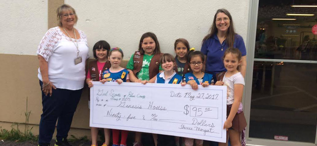 Girl scout troop donation check presentation