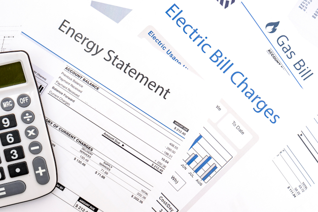 Energy bill paper forms on the table closeup